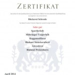 Urkunde Brotprüfung Sehr gut_April 2014